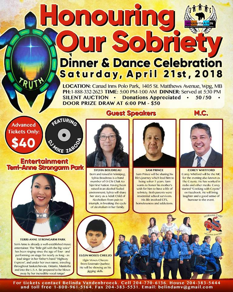Poster for Sobriety Dinner and Dance April 21st 2018