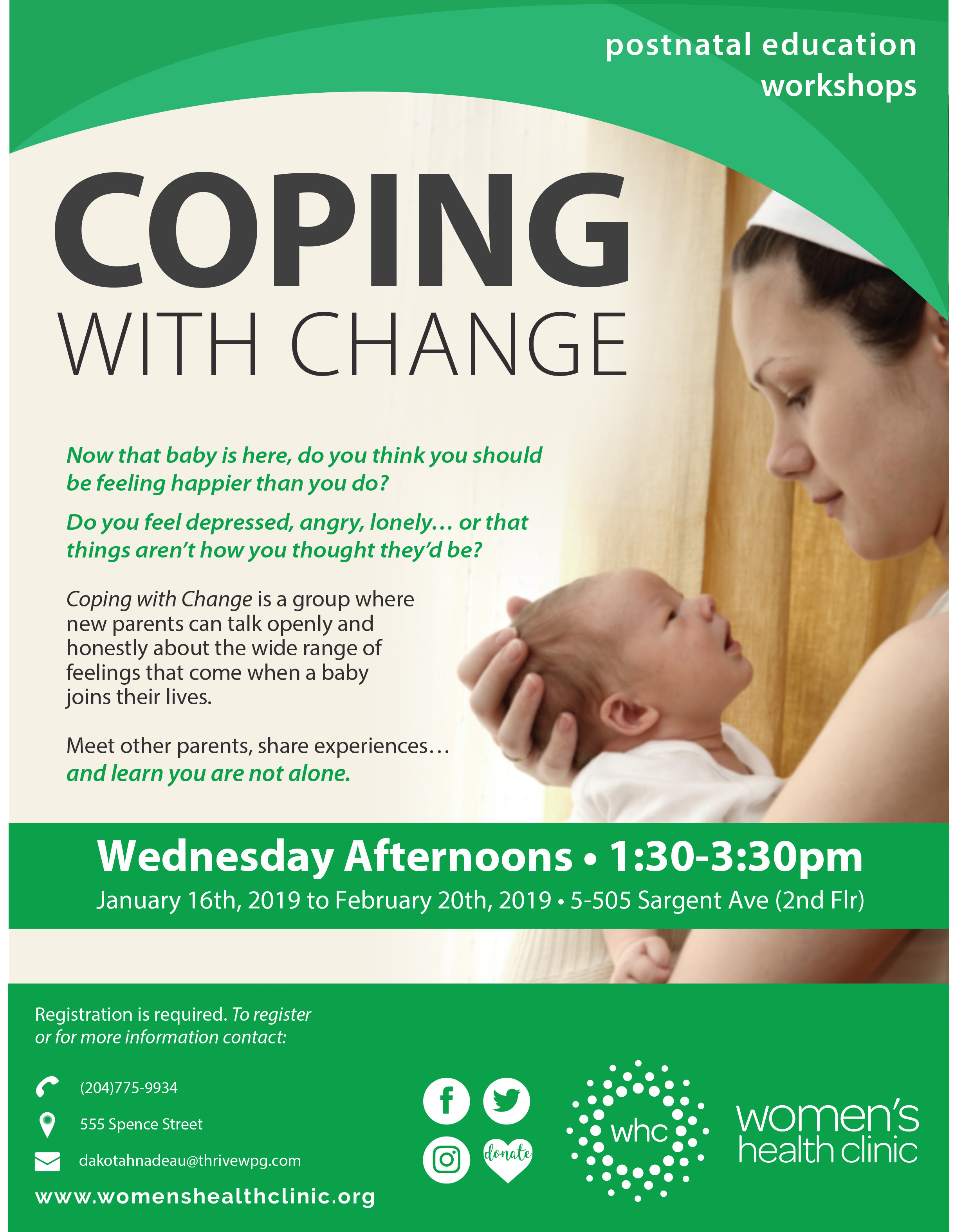Coping With Change as a new parent postnatal education workshops poster
