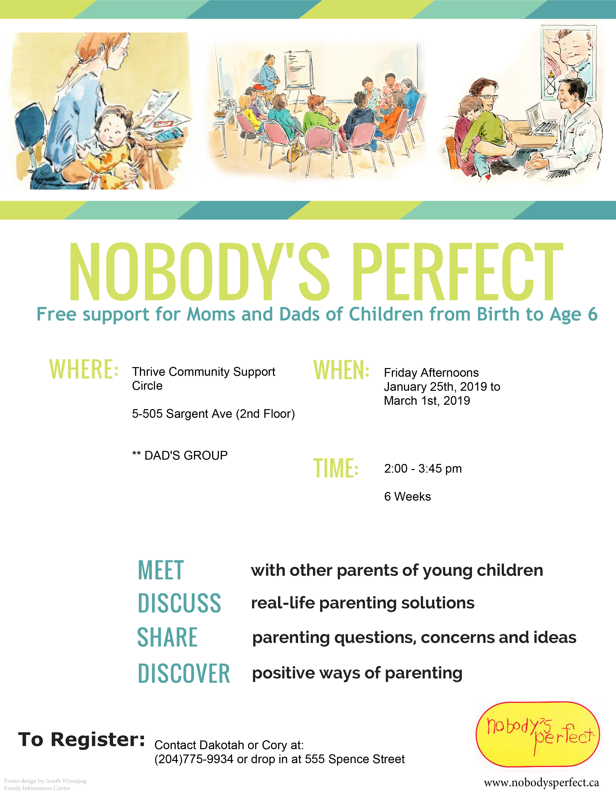 Nobody's Perfect Poster - free support for moms and dads with children from birth to Age 6