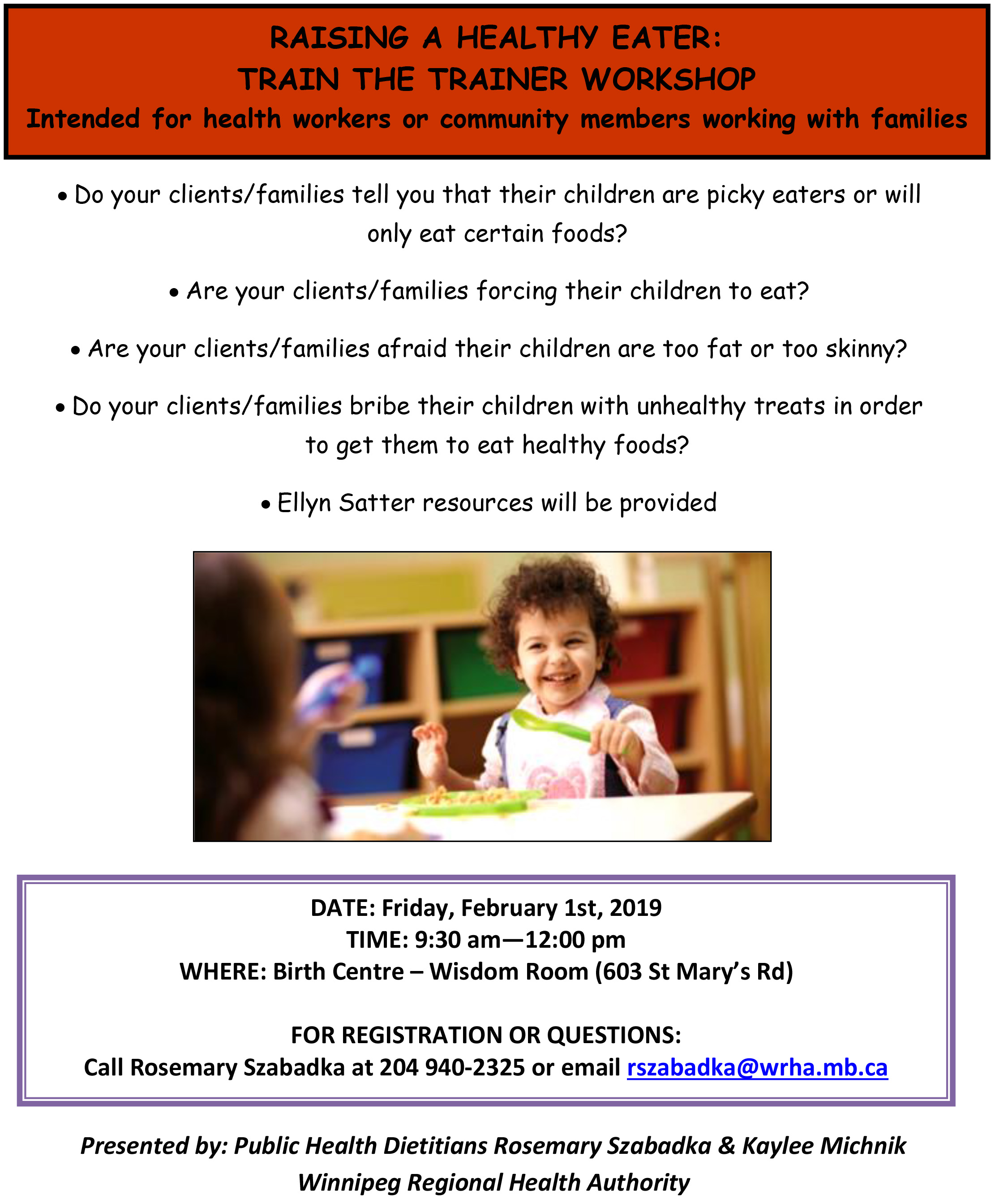 """Raising a Healthy Eater"" Train the Trainer Workshop"