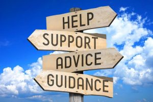 customer-support-wooden-signpost-four-arrows-help-advice-guidance-sky-background-82273934